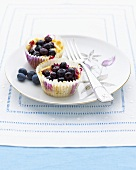 Two blueberry tarts