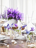 Easter table with spring flowers