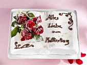 Mother's Day cake with sugared roses