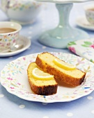 Two slices of lemon cake for afternoon tea