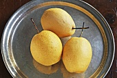 Three nashi pears on pewter plate