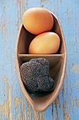 Black truffle and eggs