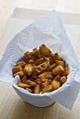 Croutons on kitchen roll