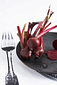 Cooked beetroot on printed tablecloth