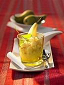 Pear sorbet in a glass