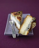 Two pieces of apple and poppy seed cake
