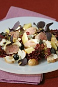 Autumn salad with rabbit fillet