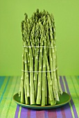 A bundle of green asparagus on plate