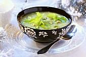 Cream of celery soup with pistachios