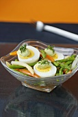 Asparagus and carrot salad with hard-boiled eggs
