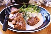Fried liver with cream and mushroom sauce (Christmas)
