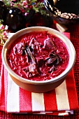 Beetroot soup on striped cloth