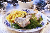 Sea bass with dill and julienne vegetables (Christmas)