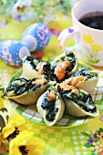 Pasta shells with spinach filling for Easter