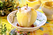 Baked apple with vanilla sauce for Easter