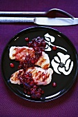 Grilled turkey escalopes with cranberry sauce
