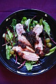 Duck breast (carved) with gooseberry sauce