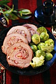 Beef roulade with Brussels sprouts and broccoli