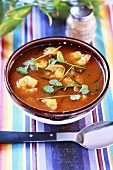 Thai tom yum soup with prawns