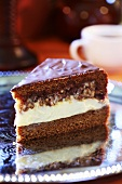 A piece of caramel layer cake