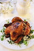 Roast chicken with rice and herb stuffing