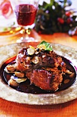 Roast veal in dark red wine sauce