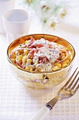 Sweetcorn salad with strips of ham