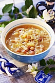 Jewish cabbage soup with raisins