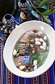Jewish-style carp in jelly with almonds and raisins