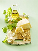 Ingredients for pesto on chopping board