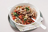 Spelt pasta with spicy tomato salsa