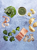 Frozen food (vegetables, salmon, pasties, prawns)