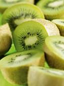 Several kiwi fruit halves (close-up)