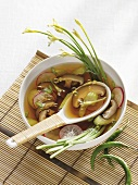 Shiitake mushrooms and radishes in clear broth (Asia)