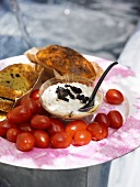 Savoury cake with olive cream and tomatoes