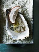 Oyster in jelly with button mushroom