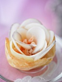 Vegetable rose in filo pastry