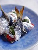 Sardine rolls filled with vegetables