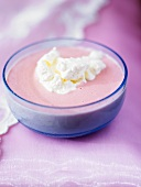 Beetroot and potato soup with whipped cream