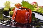 Turned-out strawberry jelly