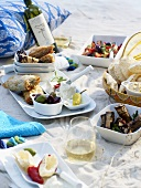 Mediterranean picnic on sand