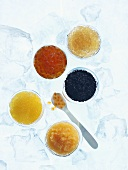 Various kinds of caviar on ice