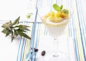 Tonka bean dessert with pineapple
