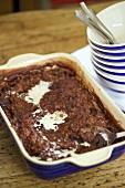 Chocolate rice pudding with rum and raisins