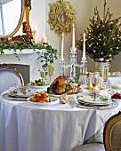 Christmas dinner on festive table