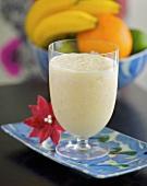 Tropical banana and mango smoothie