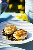 Eggs with crispy topping on sorrel puree