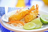 Deep-fried prawns with lime slices