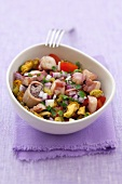 Seafood salad with dressing