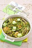 Chicken with peas, mangetout, lemon thyme